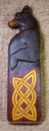 Celtic Bear carving with painted finish.