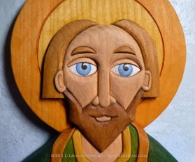 Detail of St. Patrick carving in basswood.