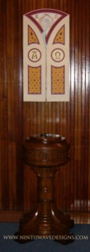 Baptismal Triptych: Shown in the closed position hanging above the existing baptismal font.