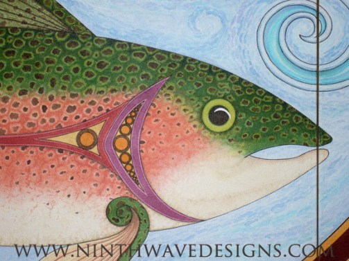 Baptismal Triptych: Detail of the trout.