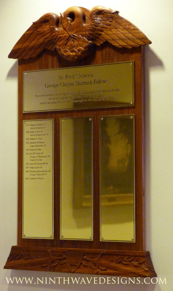 The completed Shattuck Fellows plaque.
