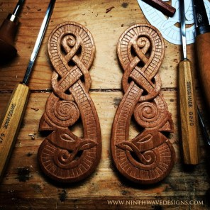 Viking Dragon Door Guardians carved in mahogany wood.