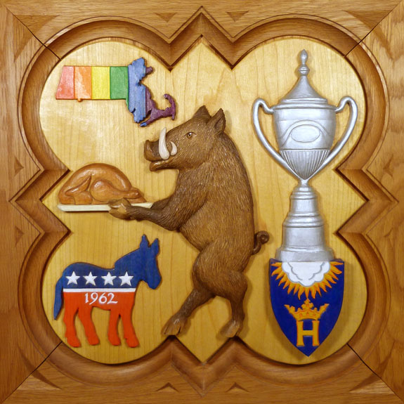 """SPS Form of 2004 Plaque, 11.25"""" x 11.25"""", painted basswood."""