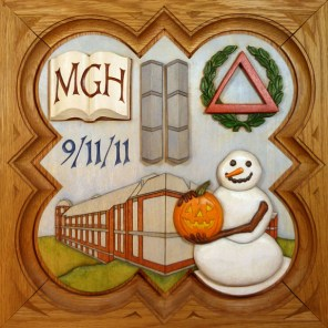 "SPS Form of 2012 Plaque, 11.25"" x 11.25"", painted basswood."