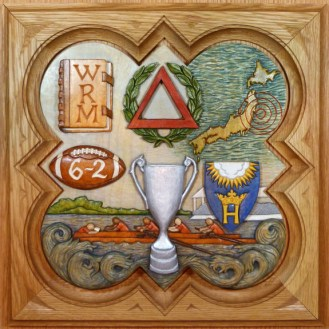 "SPS Form of 2011 Plaque, 11.25"" x 11.25"", painted basswood."