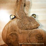 The first rough stage of shaping the carving.