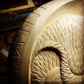 Adding the runes around the egde of the carving.