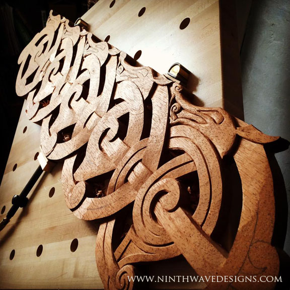 The length of the carving in progress.