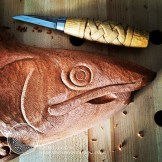 Roughing out the head of the salmon, adding some definition to the shape.
