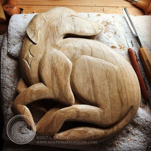 The finished carving prior to sealign with oil.