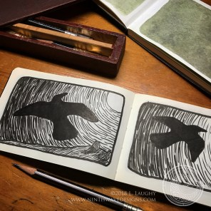 Sequential sketches made using brush markers.