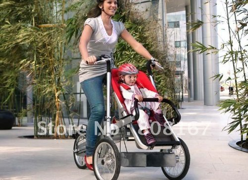 a bicycle and a stroller in one, converts easily and fits in the trunk of a car