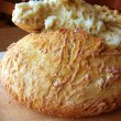a freshly baked bread, crusty and soft, no knead, recipe and image