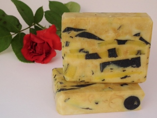 Home made soap with aloe vera, lemon juice and activated charcoal