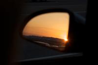Sunset in mirror