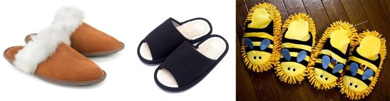 A la izquierda, zapatillas de invierno; en el centro, chanclas de reflexología; ©Pixta. a la derecha, zapatillas con suela de mopa. ©Tatsuo Yamashita