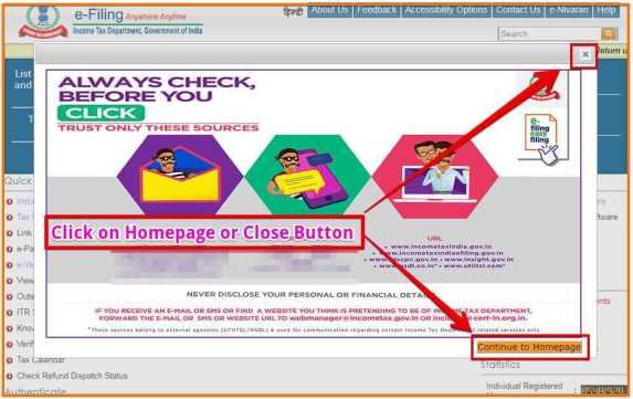 Click on Close Button or Continue to Homepage