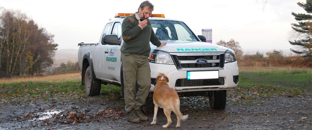 Park Ranger making a radio call