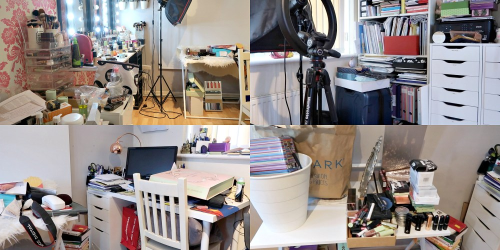 decluttering and cleaning my spare bedroom/makeup studio/home office/filming room, SPEED CLEANING VLOG, NISHI V, WWW.NISHIV.COM
