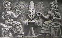 Ningal en haar echtgenoot, de maangod Nanna, die in zijn handen een Soemerische ankh draagt.