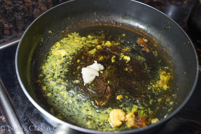 In the same pan, add ghee 2 tbs