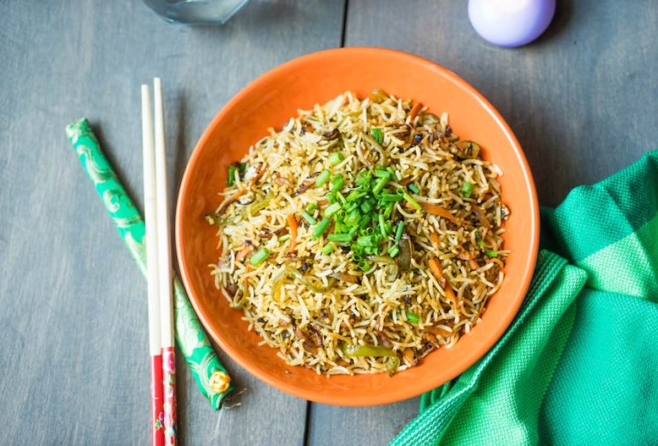 Fried Rice Recipe Indo-chinese Style   How to make Fried Rice Restaurant style