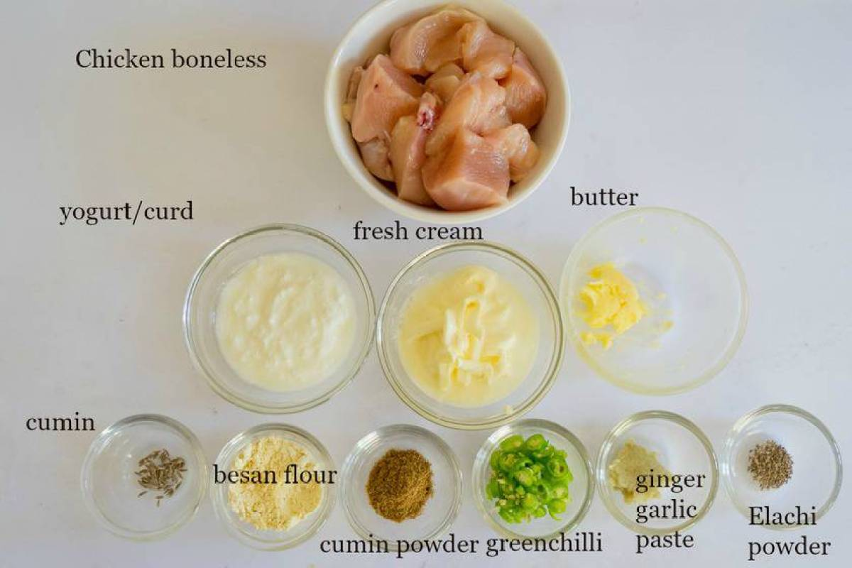 Ingredients to make creamy malai kebab
