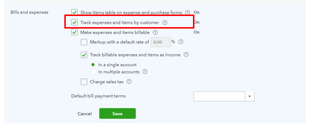tracking expenses in quickbooks online
