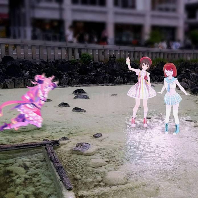 Takanashi Metro tries to join a photo between Mahoro Nijino and Masaka Akasaka, but she slips in the water