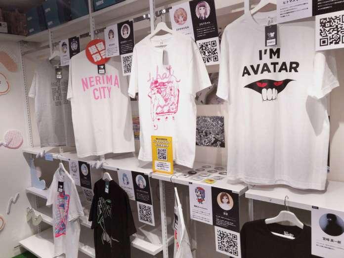 VIRTUAL REALI-T T-shirts hanging up in PARK Harajuku store