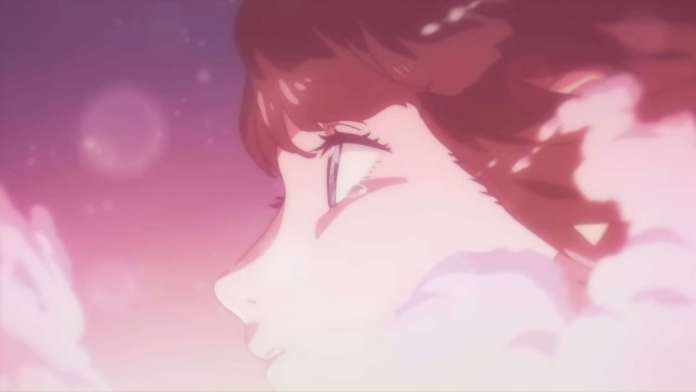 Touka Miyashita from Boogiepop and Others surrounded by bubbles with a teardrop in her left eye