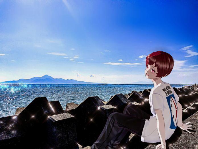 Nukka @nonzka sits by the ocean wearing itopoid VIRTUAL REALI-T vol2 shirt