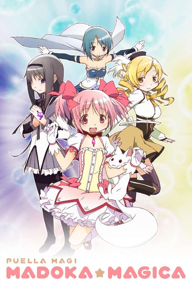 Puella Magi Madoka Magica anime key promotional image featuring the magical girls Mami Tomoe, Madoka Kaname, Sayaka Miki, and Homura Akemi