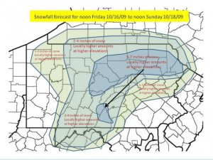 Snow forecast for Homecoming Weekend
