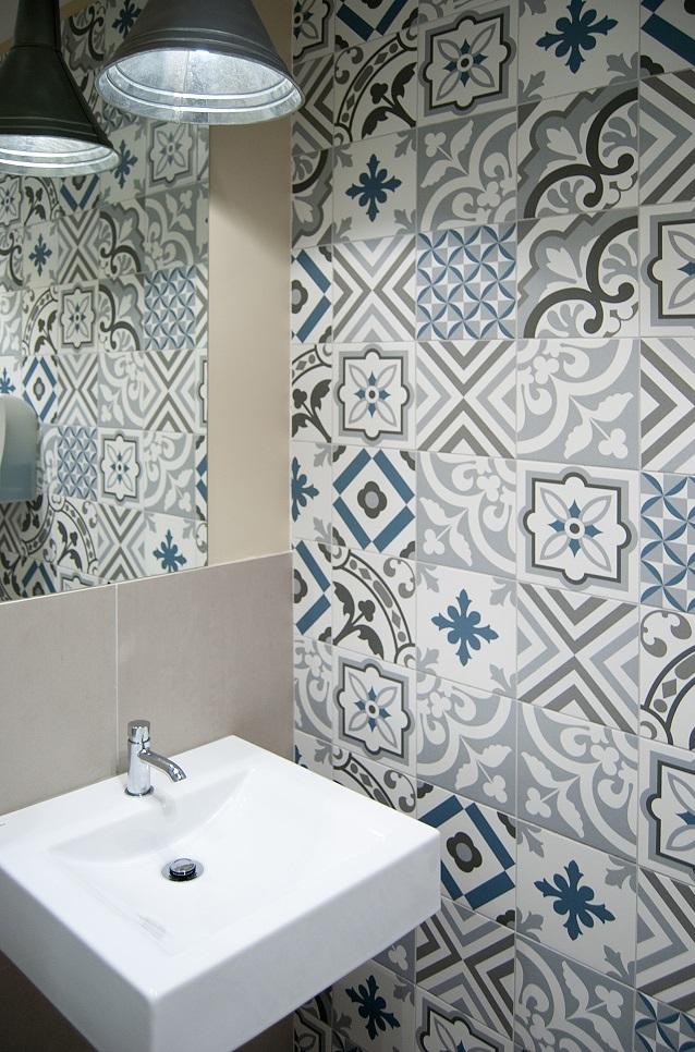 20x20 decor vintage patchwork gris bleu