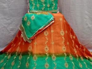 Fancy Rajputi Poshak on Crep Slik Fabric Quality with Humrahi Shaded Odni