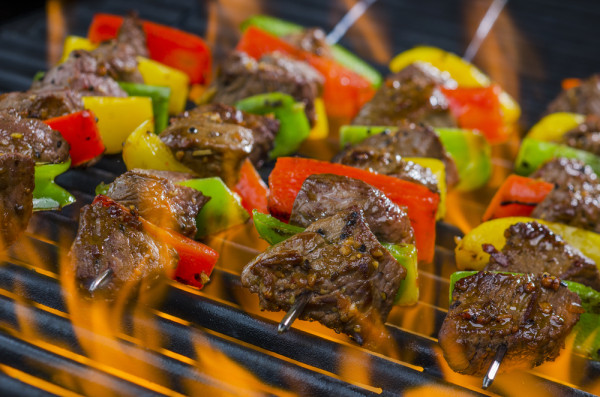 Steak Kabobs on Grill