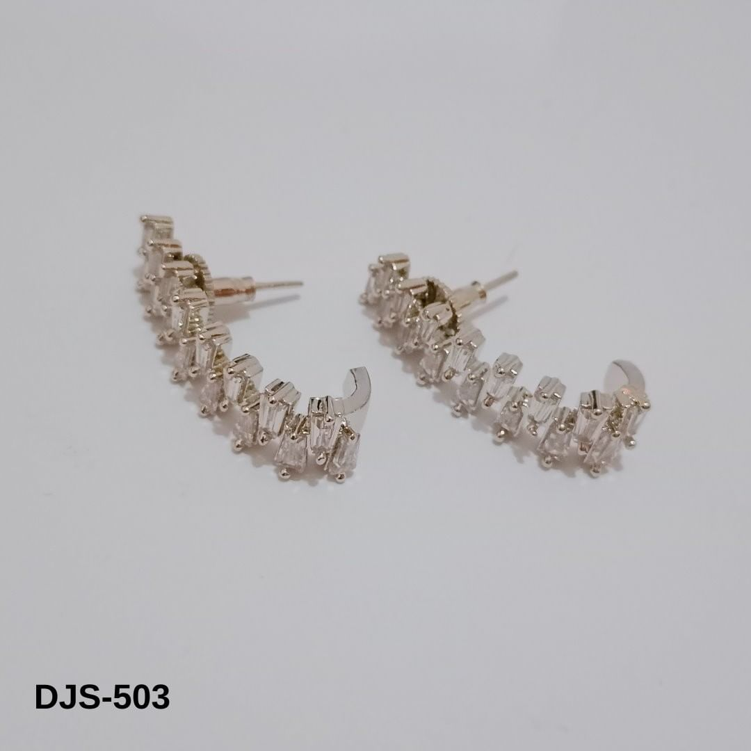 Long shaped CZ studs in platinum finish.  Product Category: Earrings Product Code: DJS-503.  .  .  .