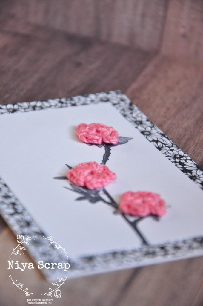 Niya Scrap - Trio de cartes noir et blanc et fleurs en crochet - Collection Amour Véritable - Matériel Stampin' Up!