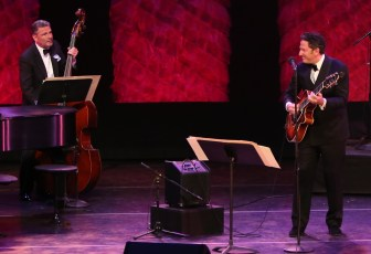 Singer-guitarist John Pizzarelli, right, performed with brother, bassist Martin Pizzarelli, and six other musicians at NJPAC on Sunday.