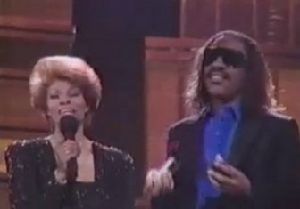 Dionne Warwick and Stevie Wonder at the 1987 Soul Train Music Awards.