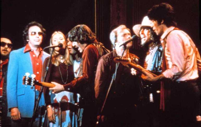 """Last Waltz"" participants included, from left, Dr. John, Neil Diamond, Joni Mitchell, Neil Young, Rick Danko, Van Morrison, Bob Dylan and Robbie Robertson."