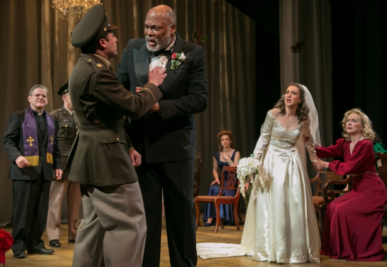 """Leonato (right, Raphael Nash Thompson) confronts his son-in-law-to-be Claudio (left, Charles Pasternak) after the wedding ceremony turns tragic, in """"Much Ado About Nothing."""""""