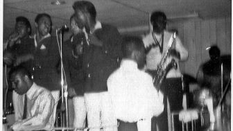 The Broadways, with Clarence Clemons on saxophone, in a photo included in an exhibit on Asbury Park's African-American muiscal legacy.