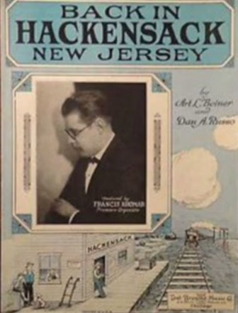 """The sheet music for """"Back in Hackensack, New Jersey."""""""