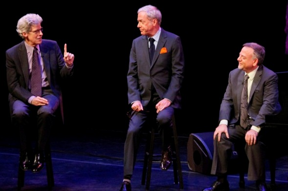 "From left, host Ted Chapin and songwriters Scott Wittman and Marc Shaiman on the episode of ""American Songbook at NJPAC"" that airs tonight on NJTV."