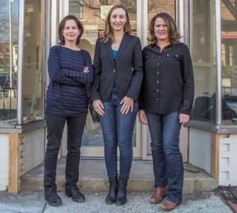 From left, Kate Jacobs, Emmanuelle Morgen and Donna Garban in front of the bookstore they are creating in Hoboken.
