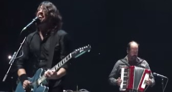 Dave Grohl and Krist Novoselic at the Izod Center in East Rutherford in September 2011.