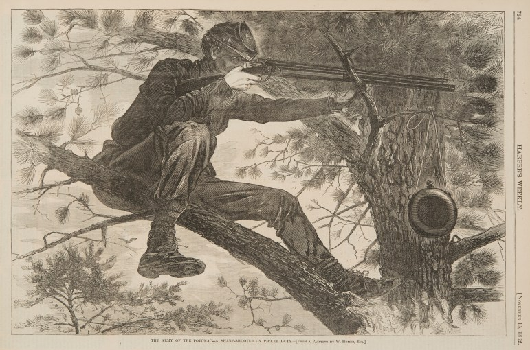 """The Army of the Potomac: A Sharp Shooter on Picket Duty,"" a 1862 wood engraving by Winslow Homer."
