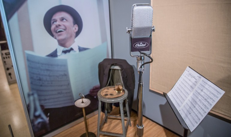 "A microphone and other memorabilia in ""Sinatra: An American Icon."""